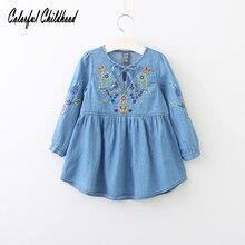 Spring Autumn Cotton Denim dress Little Girls floral dress vintage embroidery flower dresses Toddler Clothing For Party