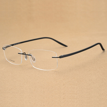 Handoer Rimless Optical Glasses Frame for Men Spectacles Prescription Titanium Legs Eyewear