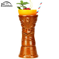 KON Tiki Mugs Cocktail Cup Beer Beverage Mug Wine Mug Ceramic Bamboo Leaves Tiki Mug 650ML ml Bar Tool