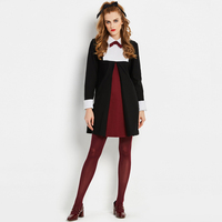 Sisjuly Office Women Uniform Autumn Mini Dress Long Sleeve Bowtie Turn Down Collar Work Lady Black White Red Patchwork Dresses
