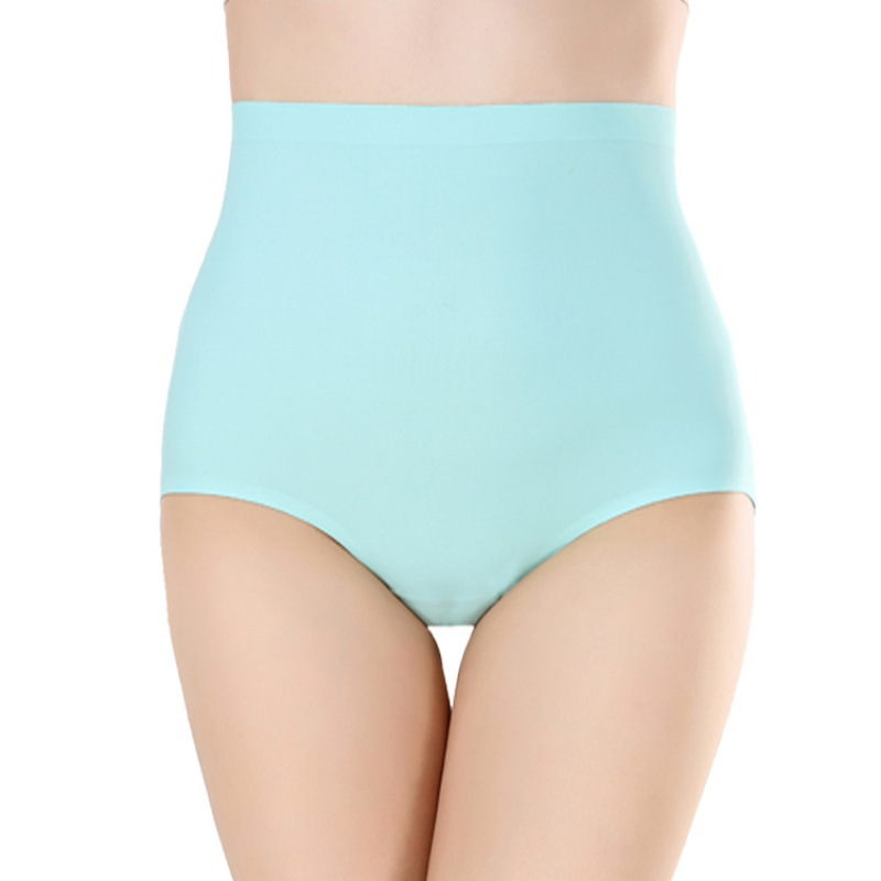 4XL Plus Size Ice Silk   Panties   for Plump Women High Waist Seamless Solid Underwear Large Size Soft Shapewear Abdomen Hips Breifs