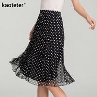100% Silk Women Summer Skirts Women's Long Skirt Long A Word Female Double Printed Pure Silk Skirt
