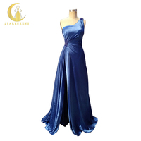 JIALINZEYI New Sexy One Shoulder Blue Satin Ruffle High Slit Beads Floor Length Formal Party Dresses