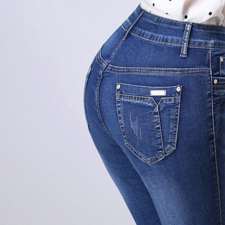 27-26 Plus Size Women Summer Jeans Capris Cropped Trousers Stretch High Waist Casual Pants Female Slim Fashion Denim Capris inc new solid white women s size 0 knitted capris cropped pants $59 056