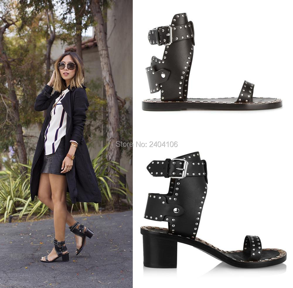 Retro Rome Med Chunky Heel Black Leather Rivet Studded Gladiator Sandals Women Open Toe Ankle Buckle Sandles Ladies Shoes Summer
