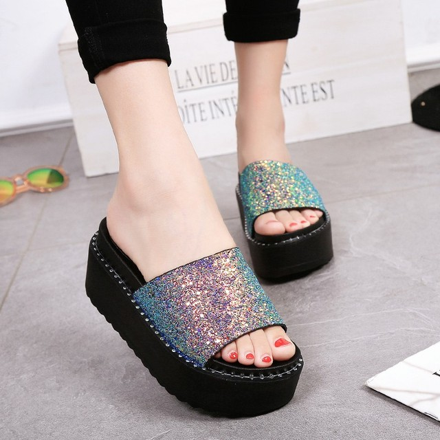 Summer Glitter Sequins Sandals Woman Bling Flip Flops Platform Sandals  Beach Slippers zapatos mujer Women sandalia feminina 8f36e5d0e6dc
