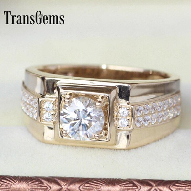 Transgems blask oryginalne 14k 585 żółte złoto 1 Carat ct F kolor zaręczyny ślub pierścień dla człowieka pierścień mężczyzn pierścionek zaręczynowy w Pierścionki od Biżuteria i akcesoria na  Grupa 3