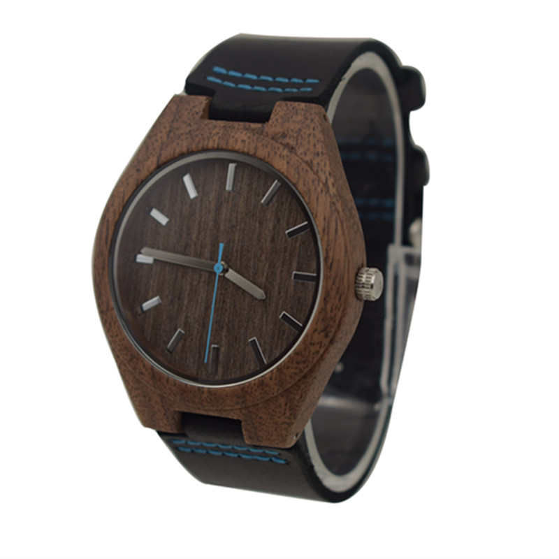 Fashion Walnut Wooden Watch For Male And Female Christmas Gifts With Black Genuine Leather Watchband Drop shipping