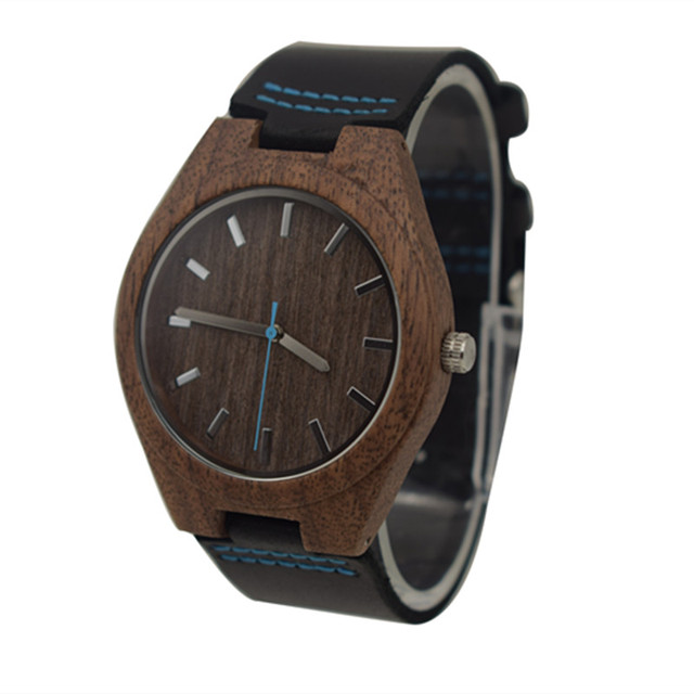 Fashion Walnut Wooden Watch For Male And Female Christmas Gifts With Black Genui