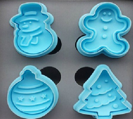 4PcsSet Christmas Gift (One Color) Tree Pastry Fondant Cake Decoration Cookie DIY Tools Mold Christmas Cake Tools