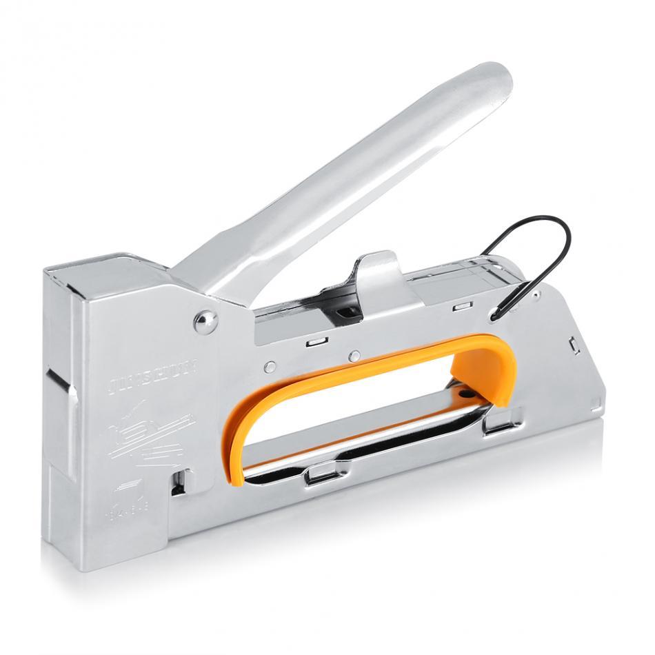 Stainless Steel Construction Manual Nail Staple Gun Furniture Stapler For Wood Door Upholstery Framing Rivet Gun Kit mini stainless steel stapler staple set red