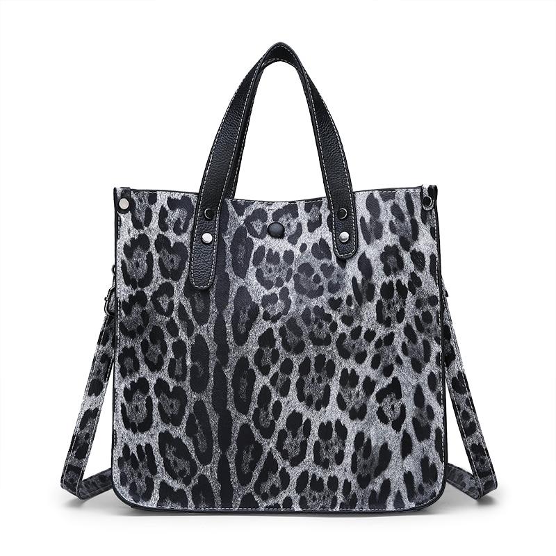 2Pcs/Set Leopard Women Handbags Shoudler Bag PU Leather Tote Top-Handle Bags For Women Clutch Sac Purse Black/Brown