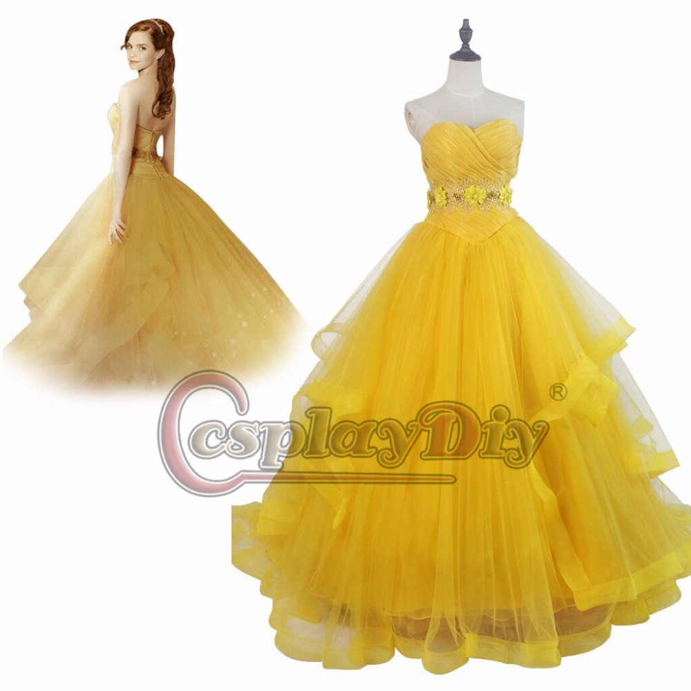 2017 Beauty and the Beast Princess Belle Dress Sleeveless Dress Version 2 Costume Cosplay for Ball Gown Party