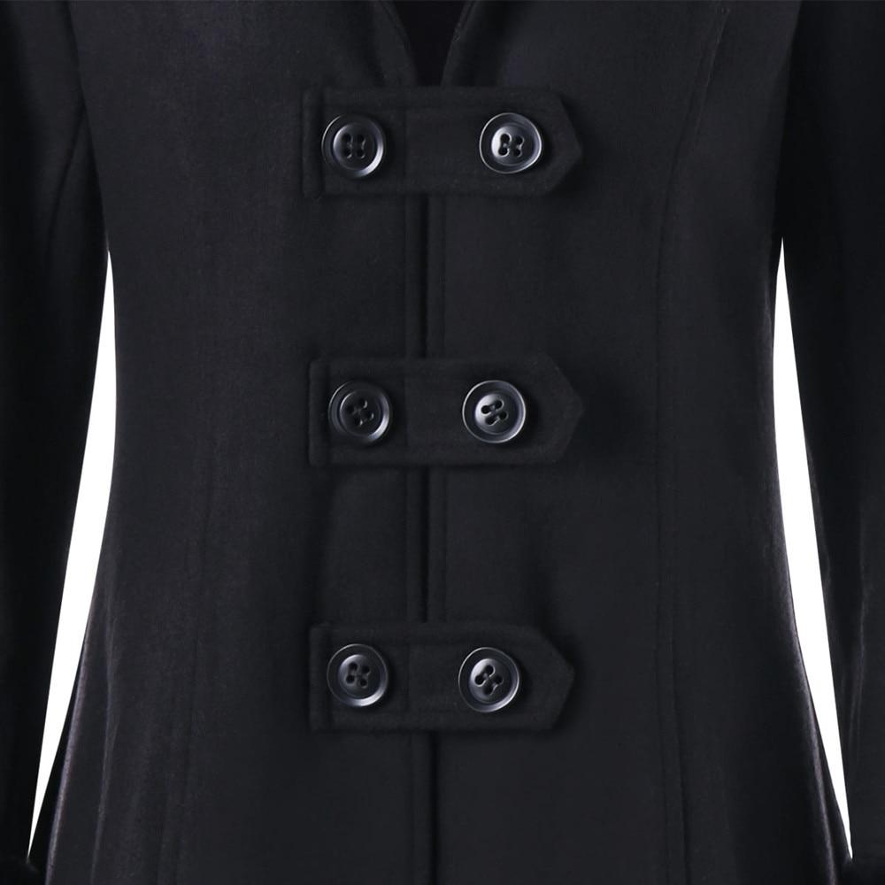 Parka Long Hiver Furccollar À Double Slim Veste Femelle Sangle Épaisse Pardessus Chaud Grand Outwear Manteau Rangée Capuchon Noir Femmes xxwS6rCq
