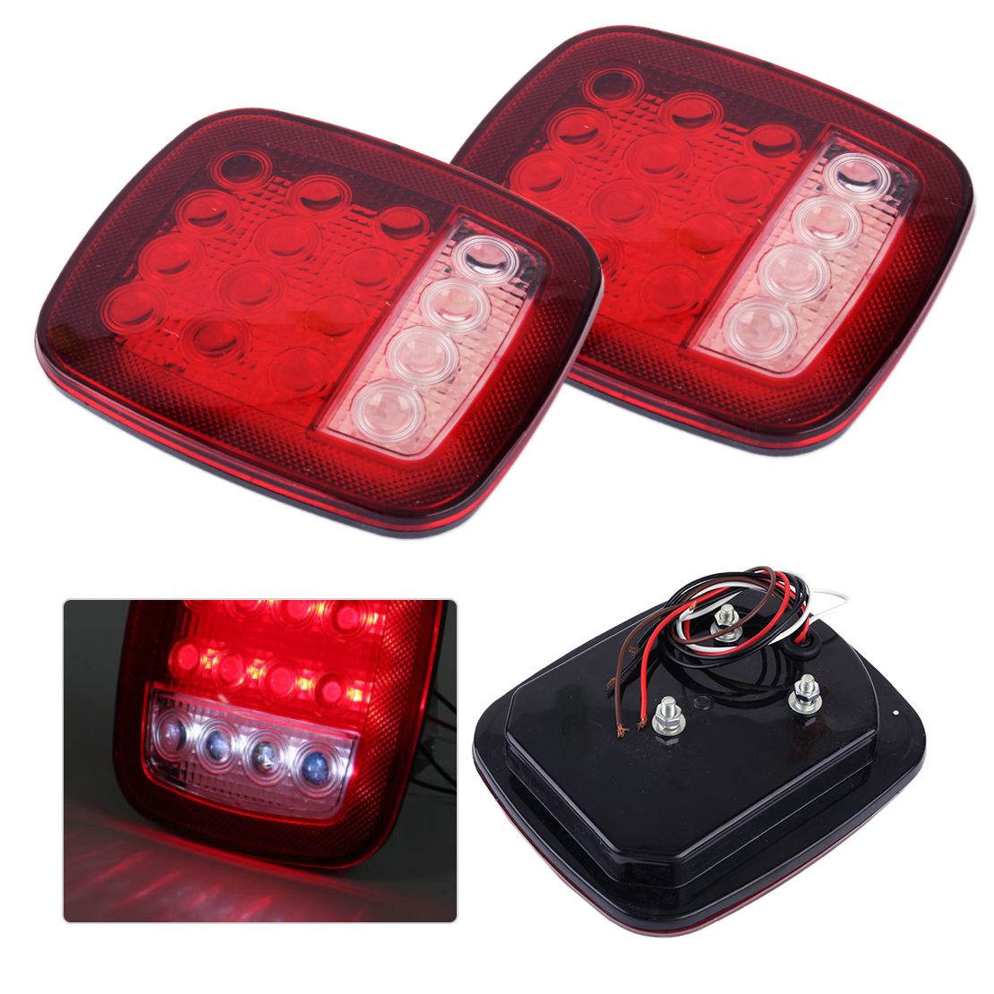 CITALL 2pcs 16 LED Red & White Car Truck Trailer Boat Stop Turn Tail Indicator Light Back Up Reverse Lamp 2pcs lot red led light 25 31mm spst 6pin on off g128 boat rocker switch 16a 250v 20a 125v car dash dashboard truck rv atv home