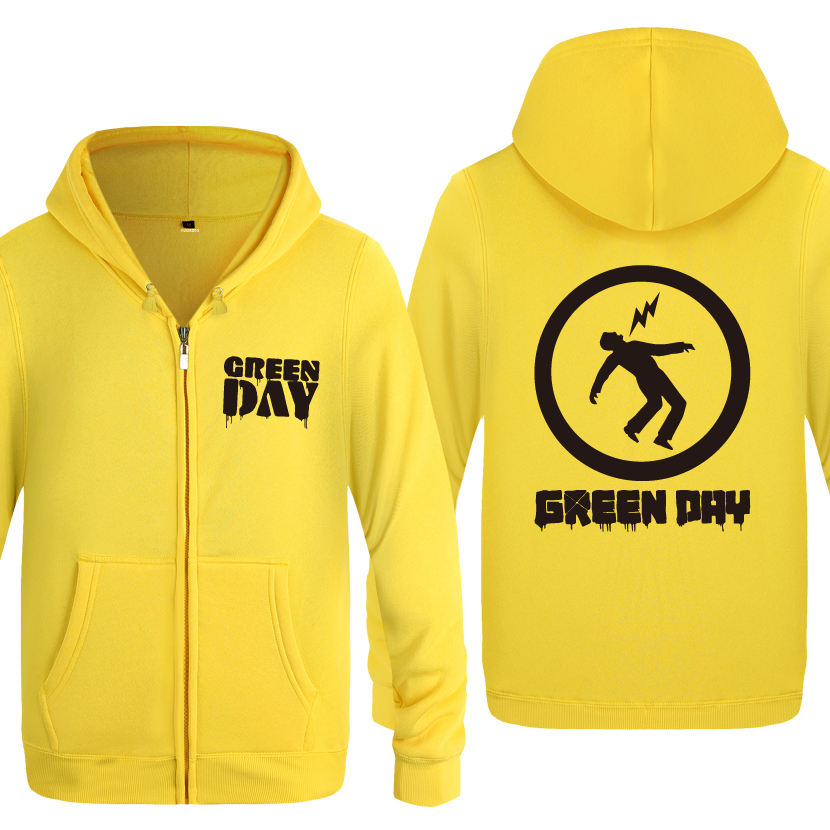 Green Day Punk Rock Band Sweatshirts Men 2018 Mens Zipper Hooded Fleece Hoodies Cardigans