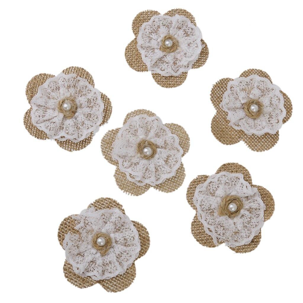 Diy Wedding Gowns: Aliexpress.com : Buy New 6pcs Hessian Burlap Lace Flowers