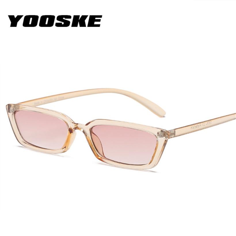 be5315cc6d YOOSKE moda gafas de sol de ojo de gato con montura estrecha Vintage para mujer  gafas de sol de diseñador de marca de lujo rectangulares de los s 90 en ...