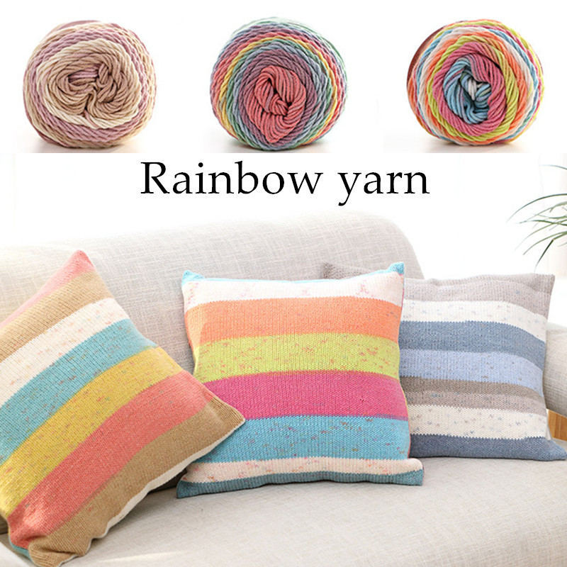 193M Rainbow segment dyed yarn 5 Strand wool DIY Handmade knitted Baby sweater hat Scarf sofa cushion
