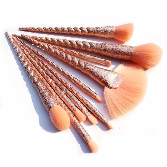 10 piezas hilo unicornio Maquillaje pinceles/brochas Pincel, Maquiagem cosméticos Maquillaje polvo de cara de sombra de ojos cepillo cosméticos conjunto herramienta