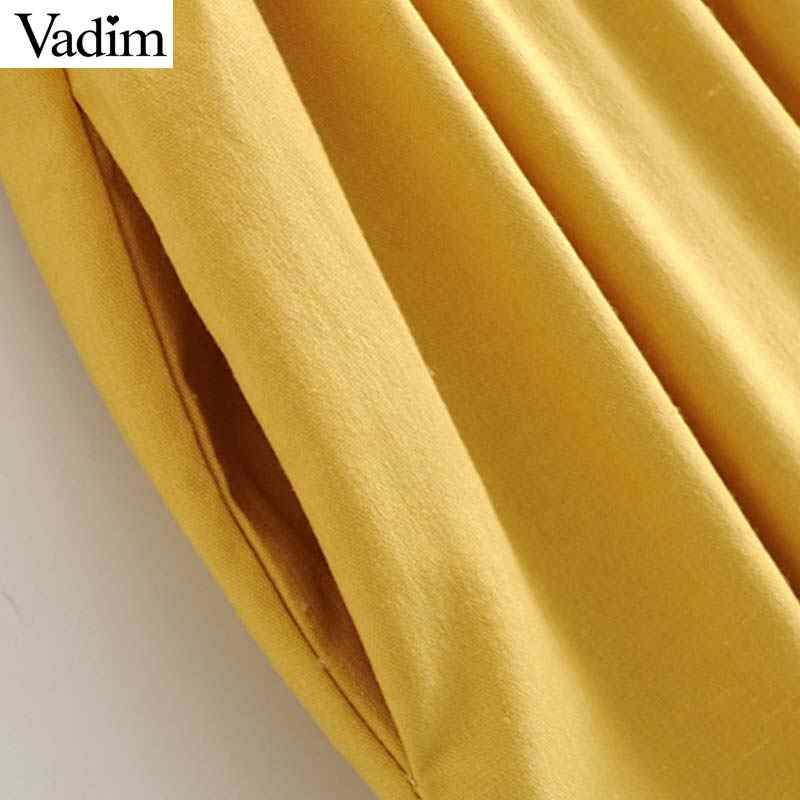 Vadim женское Сексуальное желтое миди платье без рукавов с v-образным вырезом и карманами, пуговицы, молния сбоку, женские повседневные однотонные платья, шикарные платья QB952