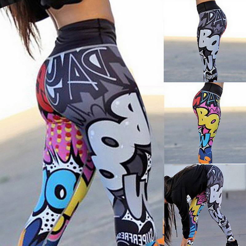 2019 Women   Leggings   Cartoon Printed Leggins High Stretch Girls   Legging   Punk Rock Fitness Leggin Fashion Pants Evening Clubwear