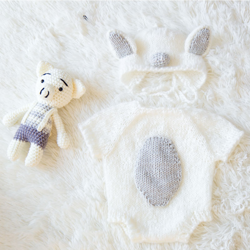 HIKYMA Newborn baby photography props baby Pig costume set crochet knitted handmade hat+bodysuit+doll Studio shoot accessories