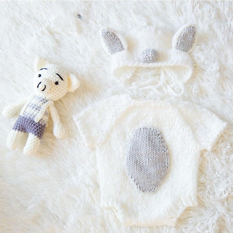 HIKYMA Newborn baby photography props baby Pig costume set crochet knitted handmade hat+bodysuit+doll Studio shoot accessories