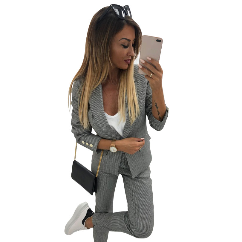 MVGIRLRU stylish Pant Suits office lady workwear singel button 2 pockets lining blazer jacket pant two
