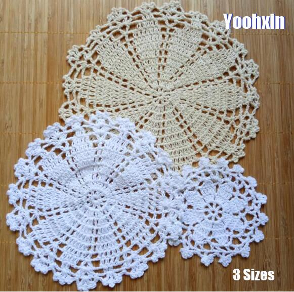 TOP lace cotton table place mat cloth crochet Round placemat tea coffee round pad Christmas dining coaster cup mug doily kitchen