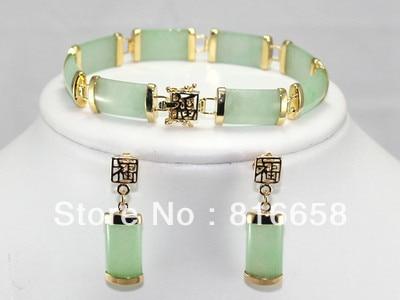 Free shipping@@hot! noble natural stone link bracelet ( 7.5 ) + earrings