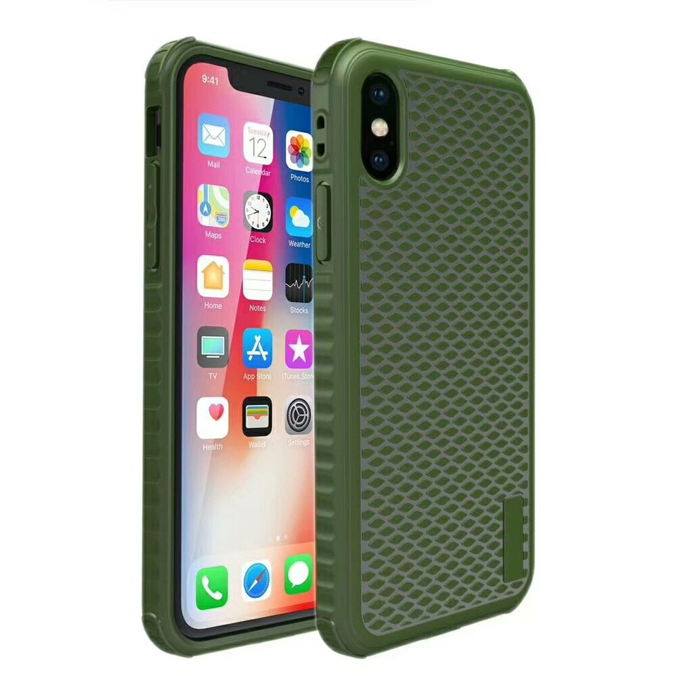 For Iphone X 8 7 Plus Shockproof Case Soft Fish Scales Phone Cover Cases For Apple Iphone 7 8plus 6 6s Plus Fundas Army Green