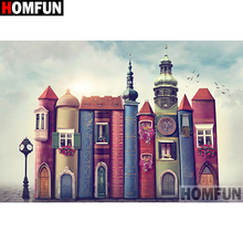 HOMFUN Full Square/Round Drill 5D DIY Diamond Painting Castle scenery 3D Embroidery Cross Stitch Home Decor A21365