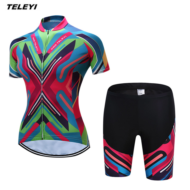 Coloful TELEYI MTB Bike Jersey shorts sets Ropa Ciclismo Jersey Women Cycling Clothing Girl bicycle Top Bottom Padded Female 2016 women cycling jersey shorts green cats mtb bike jersey sets pro clothing girl top short sleeve bike wear bicycle shirts