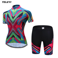 Coloful TELEYI MTB Bike Jersey shorts sets Ropa Ciclismo Jersey Women Cycling Clothing Girl bicycle Top Bottom Padded Female