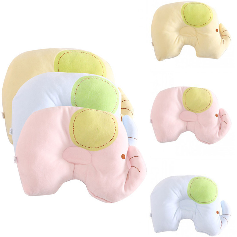 Baby Shaping Pillow Soft Head Positioner Small Elephant Shaped Pillow Anti-roll Over Neck Protection for Newborn Sleeping