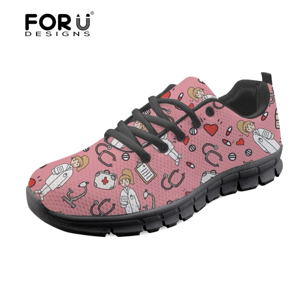 FORUDESIGNS Sketch Medical Pink Brand Designer Sneakers Fashion Girls Casual Women Flats Shoes Lace-up Comfortable Nurse Shoes real pic high color decorative rivets women casual shoes brand designer lace up comfortable women flats shoes woman