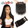 360 Lace Front With Bundle Straight Brazilian Virgin Hair With Closure 4pcs Pre Plucked 360 Lace Frontal Closure With Bundles