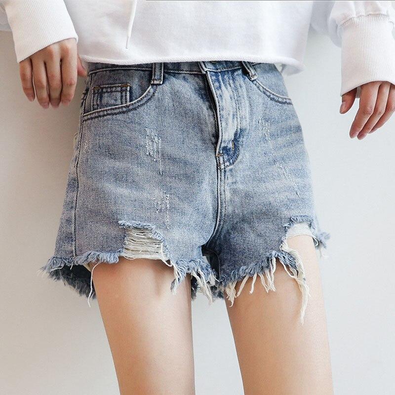 2019 Neue Koreanische Hohe Taille Ripped Loch Denim Shorts Womens Casual Jeans Shorts Frauen Sommer Kurze Shorts Erfrischung