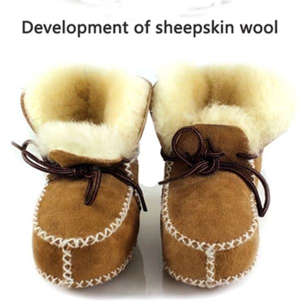 Una pieza abrigo de piel Real de Cabra de Piel de Bebé de la Nieve del Invierno botas de 2016 Niños de la Marca Bebé Zapatos Niños de Cuero Geanuine Australia zapato