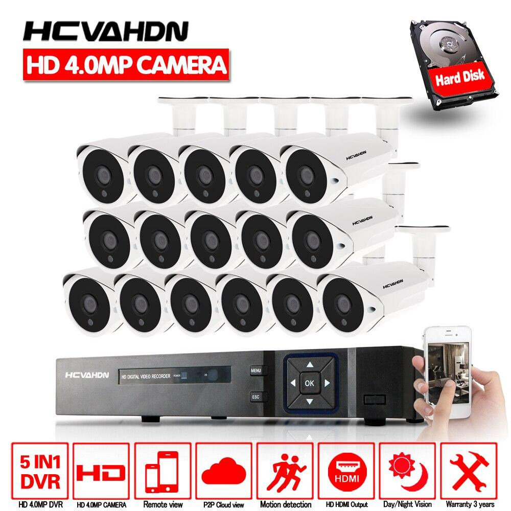 HCVAHDN HD Accueil CCTV Système 16CH 5MP NVR 4MP AHD DVR HD CCTV 4.0mp AHD Caméra de Sécurité À Domicile Système Max 6 tb HDD En Plein Air Kits