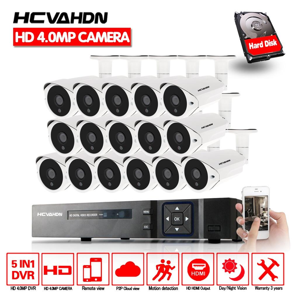 HCVAHDN HD Sistema de CCTV Casa 16CH 5MP 4MP NVR AHD AHD DVR CCTV HD 4.0mp Camera Home Security Sistema Max 6 tb HDD Ao Ar Livre Kits