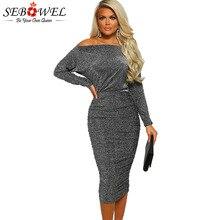 a649ed62e46 SEBOWEL Diamond Lady Gray Ruched Midi Dresses for Woman Spring Autumn Long  Sleeve