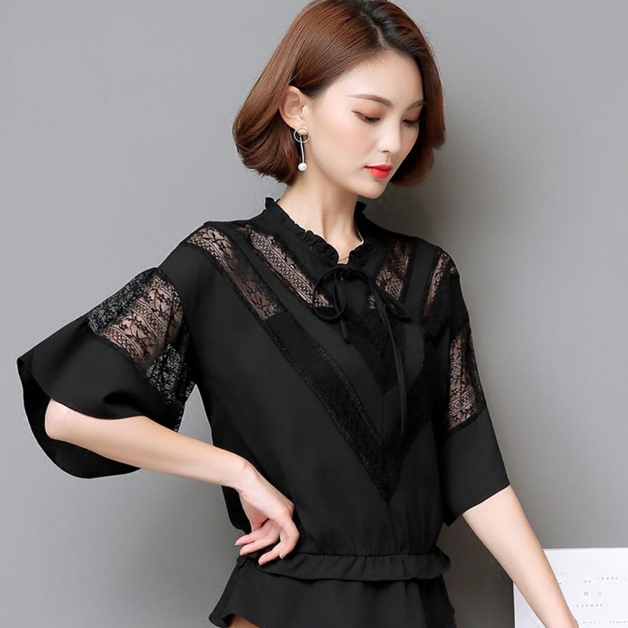 Patchwork Lace Shirt Women Hollow Out Top Mesh Black White Blouse Ruffle Harajuku Ropa De Mujer Kimonos Roupas Peplum Top D0097E
