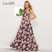 все цены на Summer Women Vintage Print Dress Elegant Square Neck Fit Flare Long Dress Boho Casual Sleeveless Floral Dresses Party Vestidos онлайн