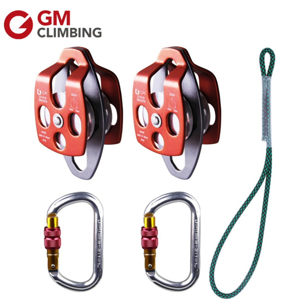 Rock Climbing Equipment 32KN Double Sheave Climbing Pulleys 25KN Carabiner Climbing Gear With Prusik Loop Climbing Rope multifunctional professional handle pulley roller gear outdoor rock climbing tyrolean traverse crossing weight carriage fit
