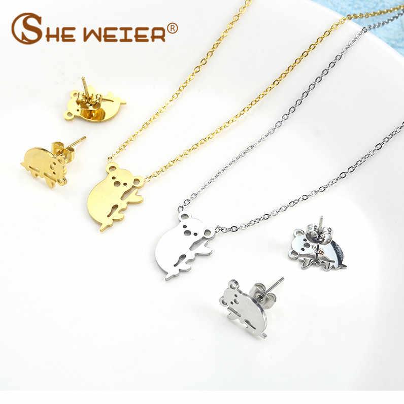彼女ウェアージュエリーアクセサリーセットブライダルゴールドジュエリー女性のためのステンレス鋼セット韓国ファッション女性ネックレスイヤリング