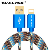 For iphone 7 7 Plus usb cable VOXLINK Camouflage Nylon Braided Sync Data Charger USB Cable for iPhone 6 6s Plus 5s iPad Air Mini