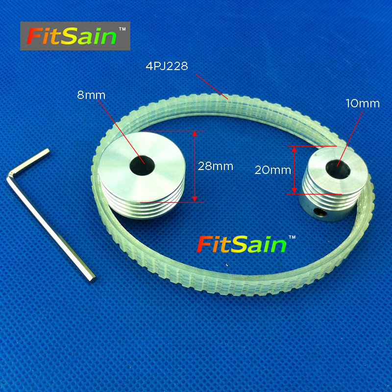 FitSain-Multi wedge PJ Belt pulley 4 slots for motor shaft 8mm-10mm mini table electric saw sawing machines chainsaw image