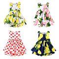Estilo sin mangas del verano lindo lemon impreso niñas visten ropa de niños roupas infantis menina er